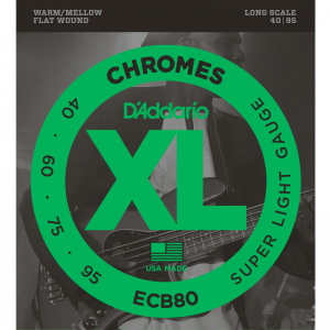 "D'addario ECB 4-string XL Chromes Flat Wound Bass Strings (34"" Long Scale)"
