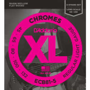 "D'addario ECB 5-string Chromes XL Flat Wound Bass Strings (34"" Long Scale)"
