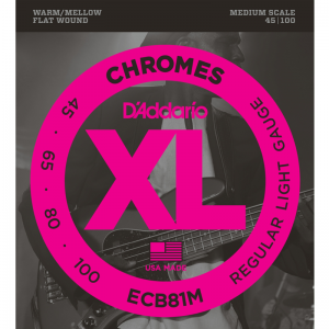 "D'addario ECB 4-string XL Chromes Flat Wound Bass Strings (32"" Medium Scale)"