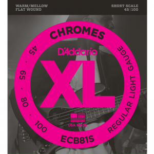 "D'addario ECB 4-string XL Chromes Flat Wound Bass Strings (30""  Short Scale)"