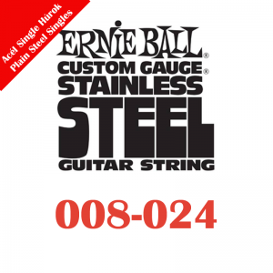 Ernie Ball Single Stainless Electric Guitar Strings (plain steel)